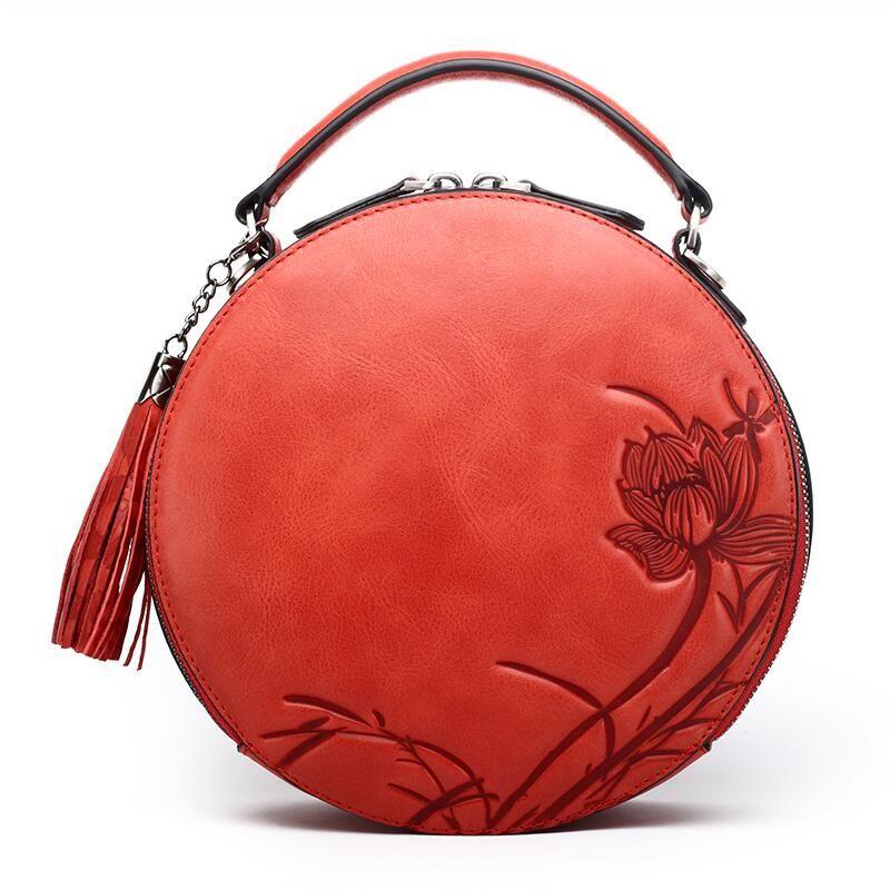 NASIBAO New Handbags Embossed Floral Top quality Cowhide Leather Tote Style Ladies Tassel Round Bag shoulder Messenger Handbag