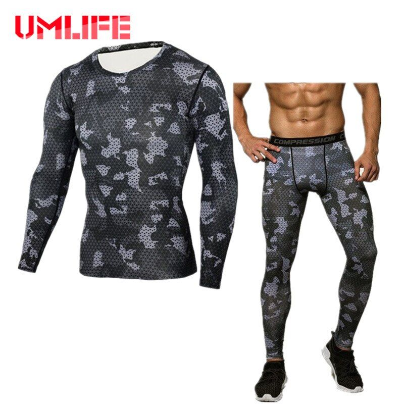 Men's Running Sets Compression Tracksuit Fitness Training Sports Suits 2 Piece Quick Dry Gym Shirt Tights Sportswear Long Sleeve