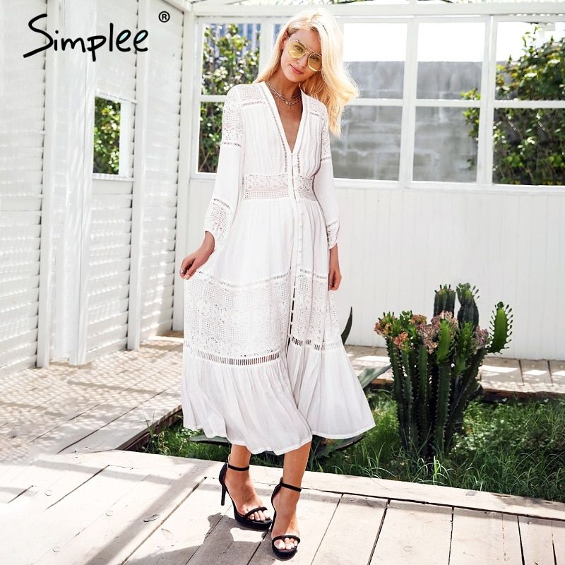 Simplee Hollow out white lace dress women V neck button casual dress long 2018 Sexy summer beach dress female vestidos