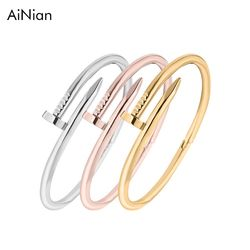 Screws Nail Cuff Bangles Copper Love Bracelets For Women Gold Pulsera Jewelry Stainless Steel Screw Bracelet Pulseiras Femininas