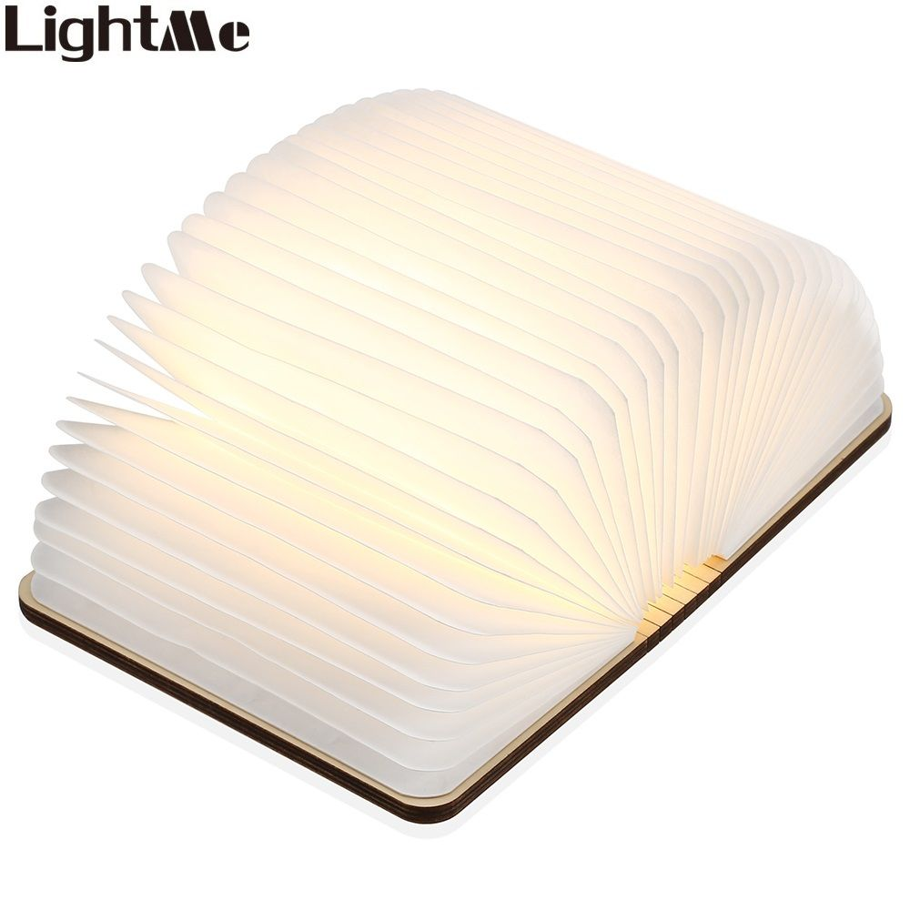 LightMe Rechargeable Book Lamp Folding Mini Table Light Warm Night Light LED Wooden USB Desk Night Lamp Bedroom Decor Lighting