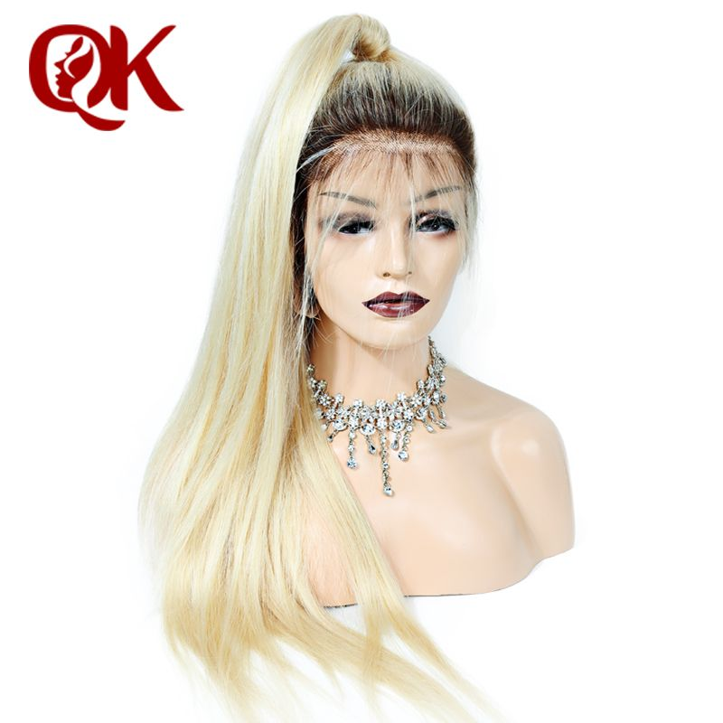 QueenKing hair Full Lace Human hair Wig 150% Density Ombre T4 613 Silky Straight Blonde Hair 100% Brazilian Human Remy Hair