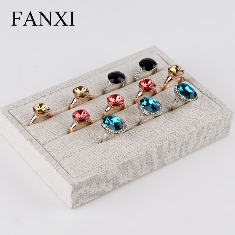 FANXI Cream-white Jewelry Finger Ring Display Tray Wrapped with Linen Fabric Rings Holder Earring Jewelry Organizer Jewelry Box