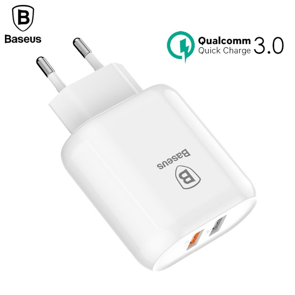 Baseus Quick Charge 3.0 Dual USB Phone <font><b>Charger</b></font> For iPhone X 8 Universal 5V/3A Travel Wall USB <font><b>Charger</b></font> For Samsung Xiaomi EU Plug