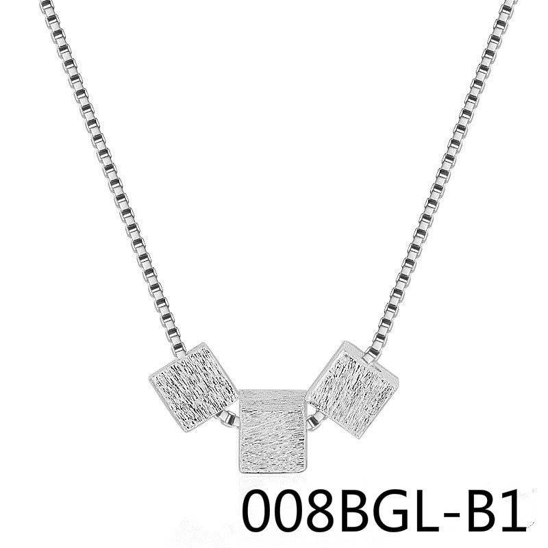 Geometry Wire Drawing Three Block Necklace Clavicle Chain Woman Short Silver Jewelry 008BGL xianglian