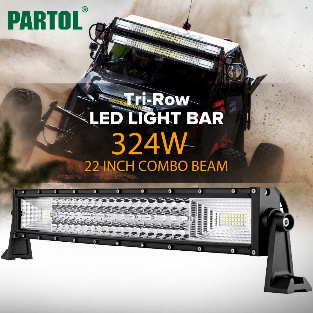Partol 22 324W Tri-Row Curved LED Light Bar Offroad Work Light Spot Flood Combo Beam 4X4 4WD LED Bar 12V 24V for Jeep SUV Truck