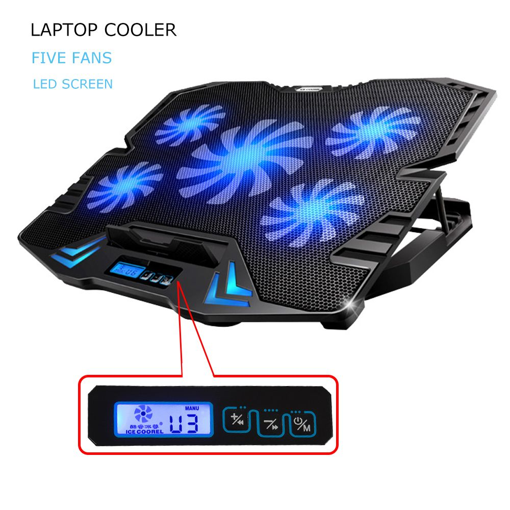 12-15.6 inch laptop Cooling Pad  Laptop cooler USB Fan with 5 cooling Fans Light Notebook Stand and Quiet Fixture for laptop