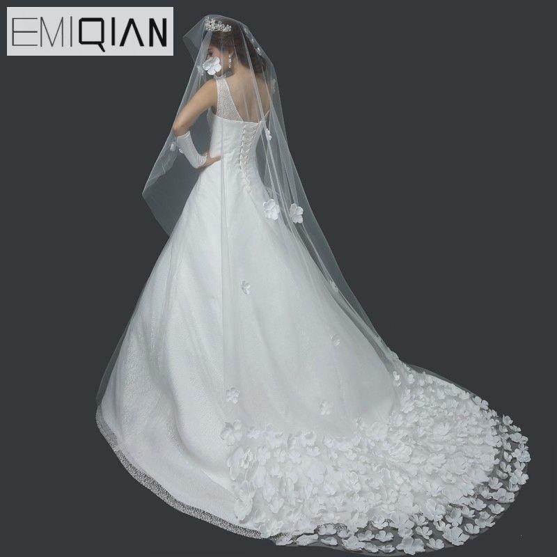 2017 Hot Sale Long Veils For Weddings 3 Meters Long Bridal Veil Cathedral Wedding Veil