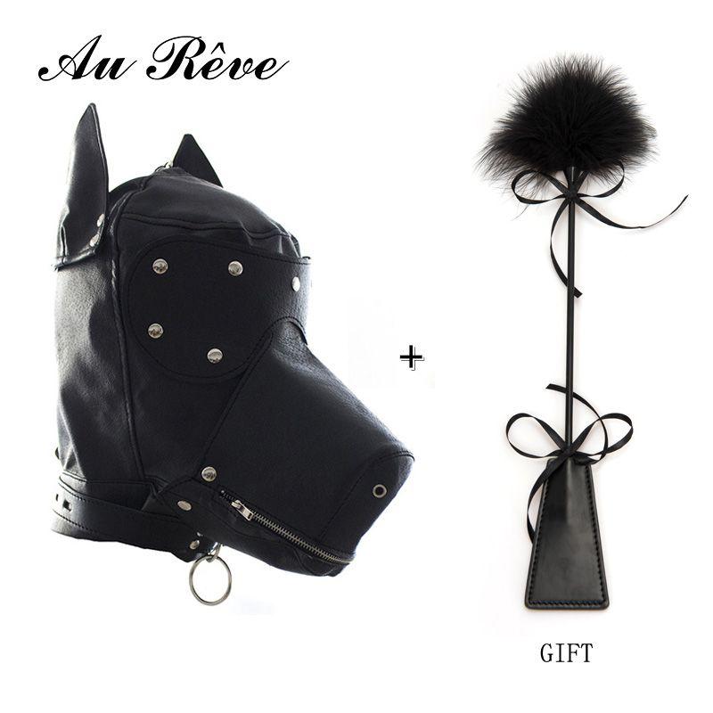 SM/искусственная кожа собака маска щенок играть капюшон маска рот кляп завязанными глазами для ролевой игры БДСМ флирт секс-игрушку для для ...