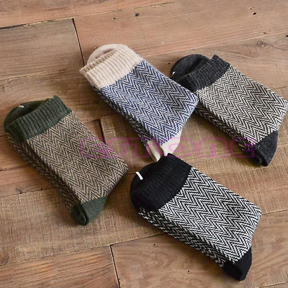 4 Pares de Los Hombres Cálido Invierno Gruesa Vestido de Mezcla de Lana de Angora Cachemira Ocasional Calcetines