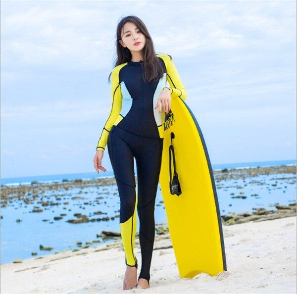 Hisea 0.5mm lycra Summer thin diving suits women wetsuit lycra skin suit long sleeves surfing jumpsuits black yellow