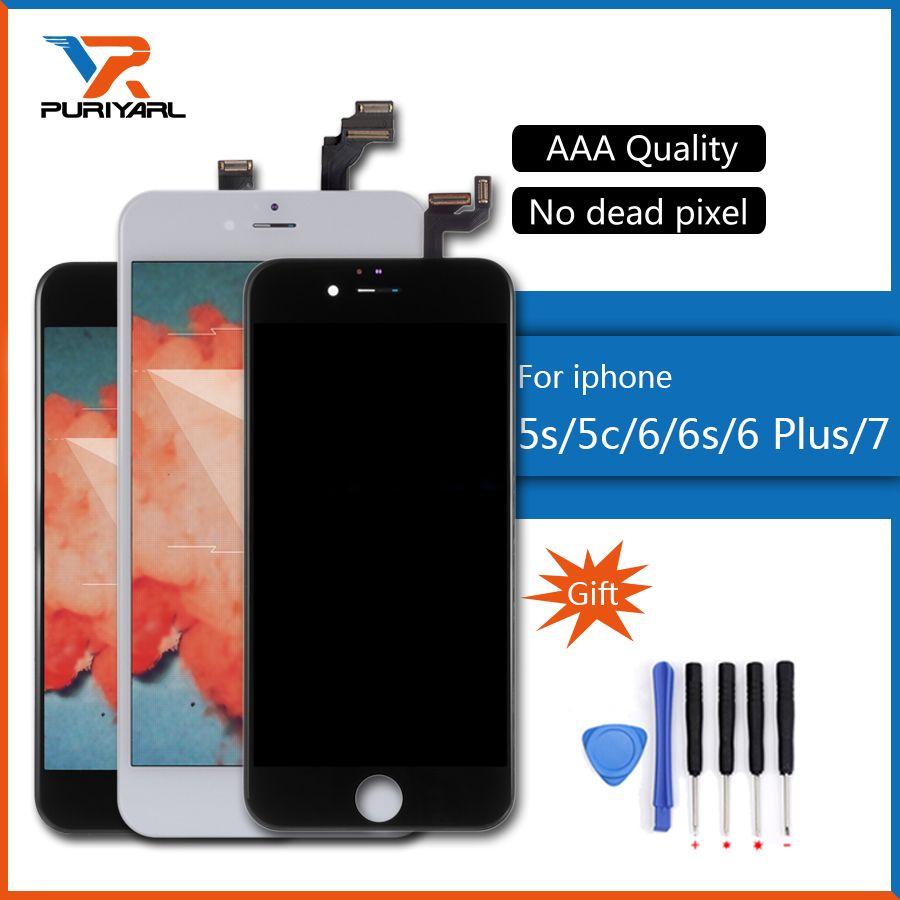 AAA Qualität Für iphone 5 s 5c 6 plus 6 s 6 7 LCD Display Touchscreen Digitizer Assembly Ersatz Weiß oder schwarz Für Gebrochen LCD