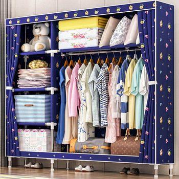 Mode imprimé garde-robe 25 MM tuyaux en acier Oxford tissu garde-robe Simple et Économique type de rangement En Tissu armoire Meubles de Maison