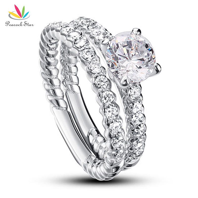 Peacock Star 1 Carat Round Cut Solid 925 Sterling Silver 2-Pcs Wedding Anniversary Engagement Ring Set CFR8010