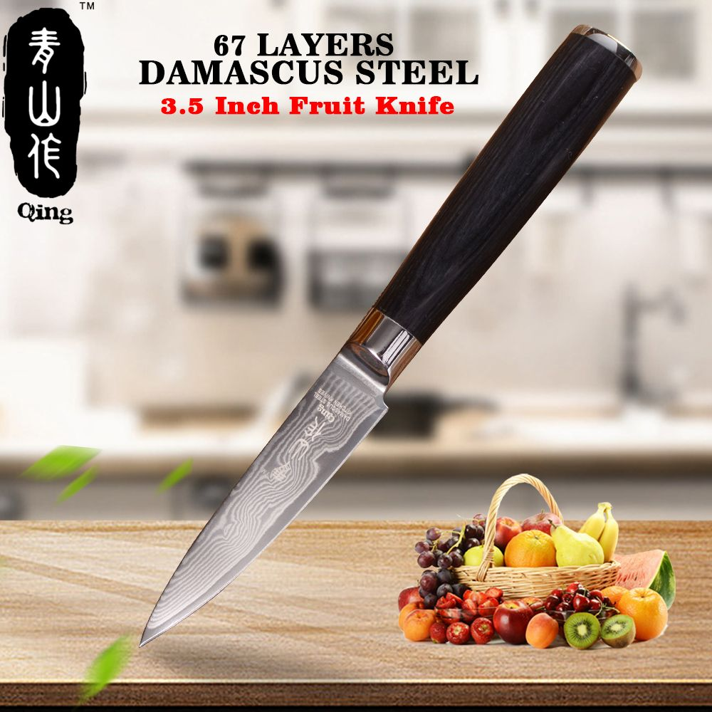 QING VG10 Steel Blade Kitchen knife Top Grade Japanese Damascus knife 3.5 inch Color Wood Handle Paring Knife Best Cooking Tool
