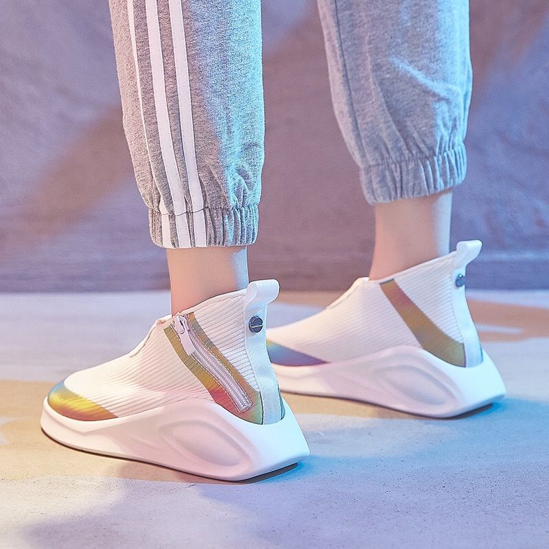 Dumoo 2018 Autumn Sneakers Women Shoes Mixed Color Breathable Casual Heel 4cm Platform White Shoes Brand Lady Shoes Trainers