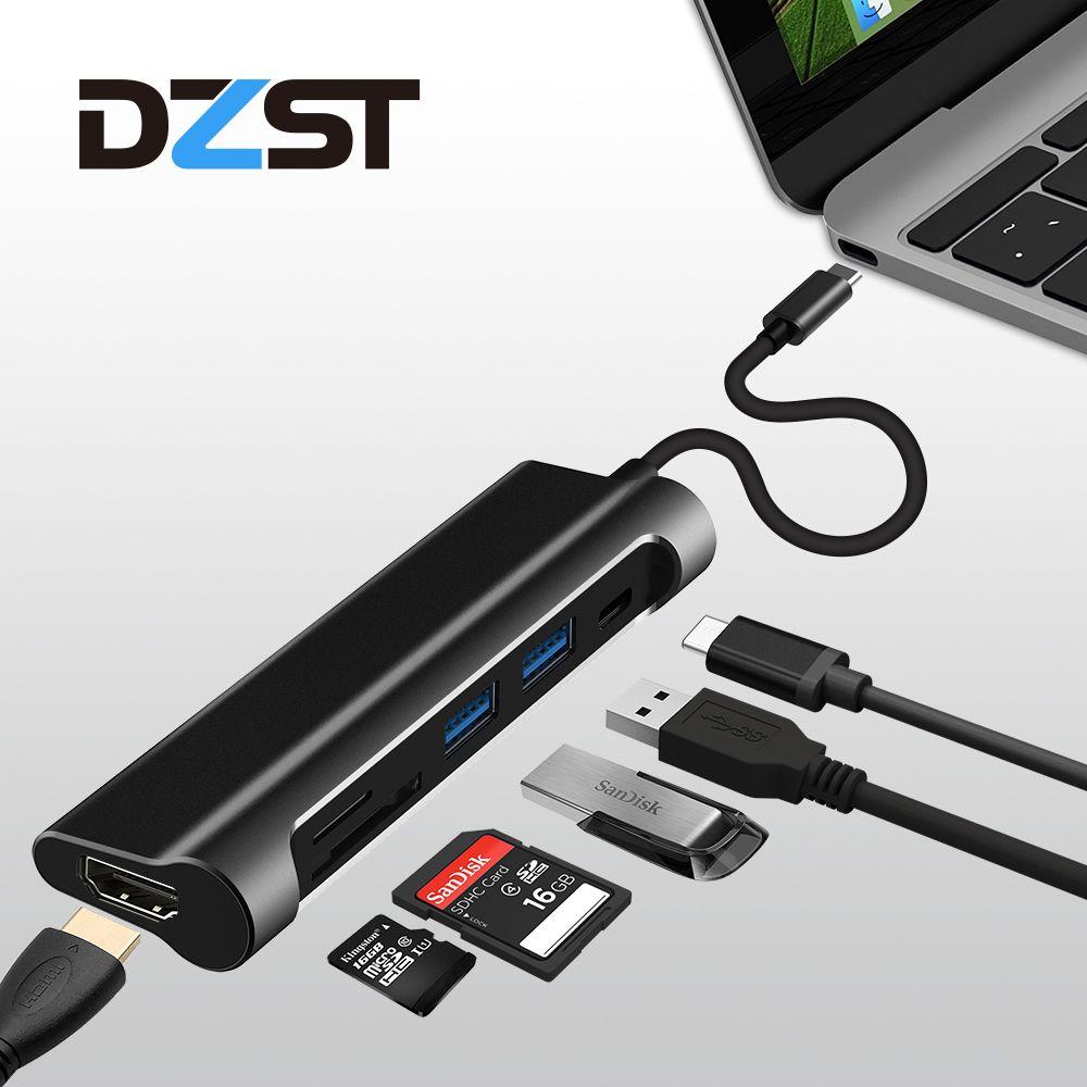 DZLST USB C 3.1 Type C to USB 3.0 /HDMI/ SD TF Card Reader/PD USB HUB 6 in 1 USB C Adapter 1080P 60Hz/4K 30Hz for MacBook Pro
