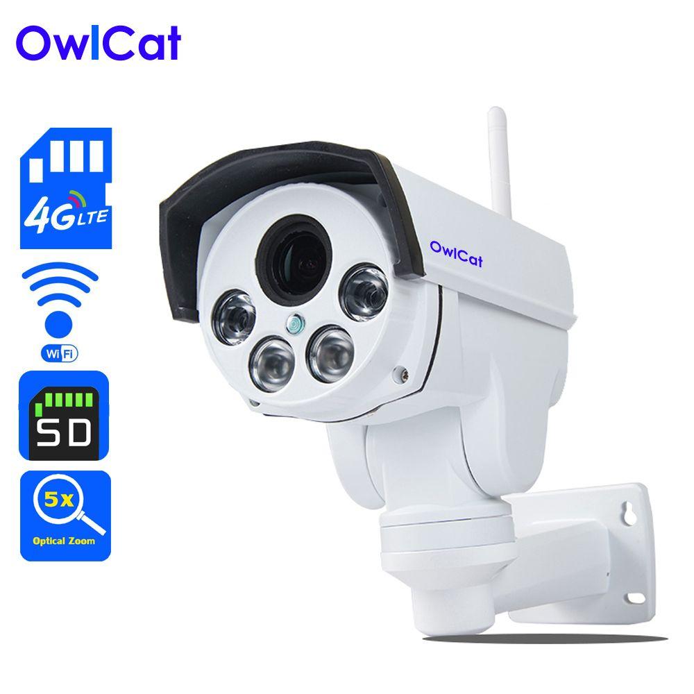 Owlcat 4G IP caméra Sim Carte WiFi CCTV caméra PTZ HD 1080 P 960 P 4X Zoom Optique Auto Focus lens 2.8-12mm de Sécurité Vidéo caméra