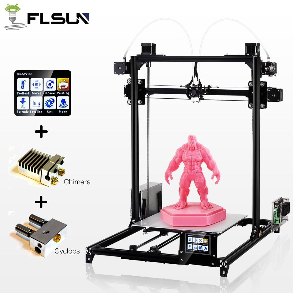 Flsun 3D Printer High Precision Large Printing Size 3D Printer Touch Screen Dual Extruder Heated Bed Two Rolls Filament Gift