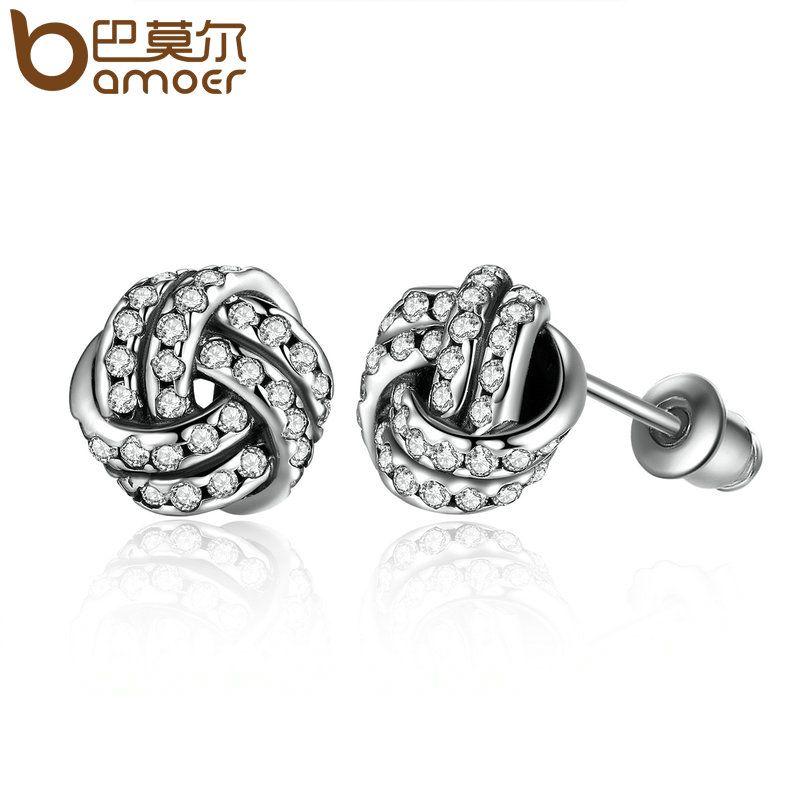 BAMOER Beliebte Silber Farbe Weben Runde Kleine Ohrstecker Frauen Fashion Ohrringe Schmuck Großhandel Brincos PA4102