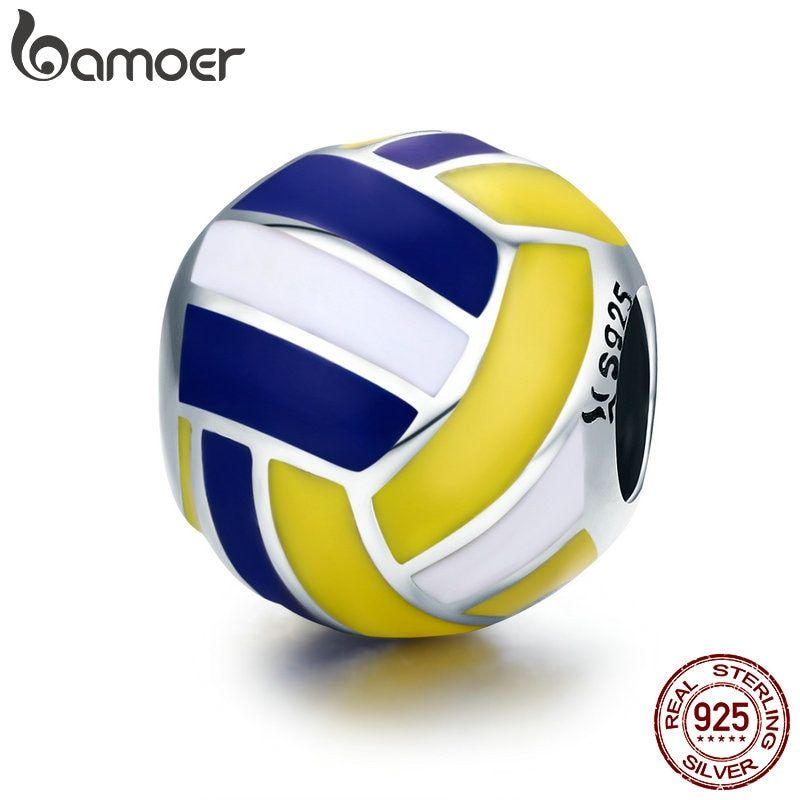 BAMOER Authentic 100% 925 Sterling Silver Sport Ball Volleyball Love Charm Beads fit Women Bracelet DIY Beads Jewelry SCC448