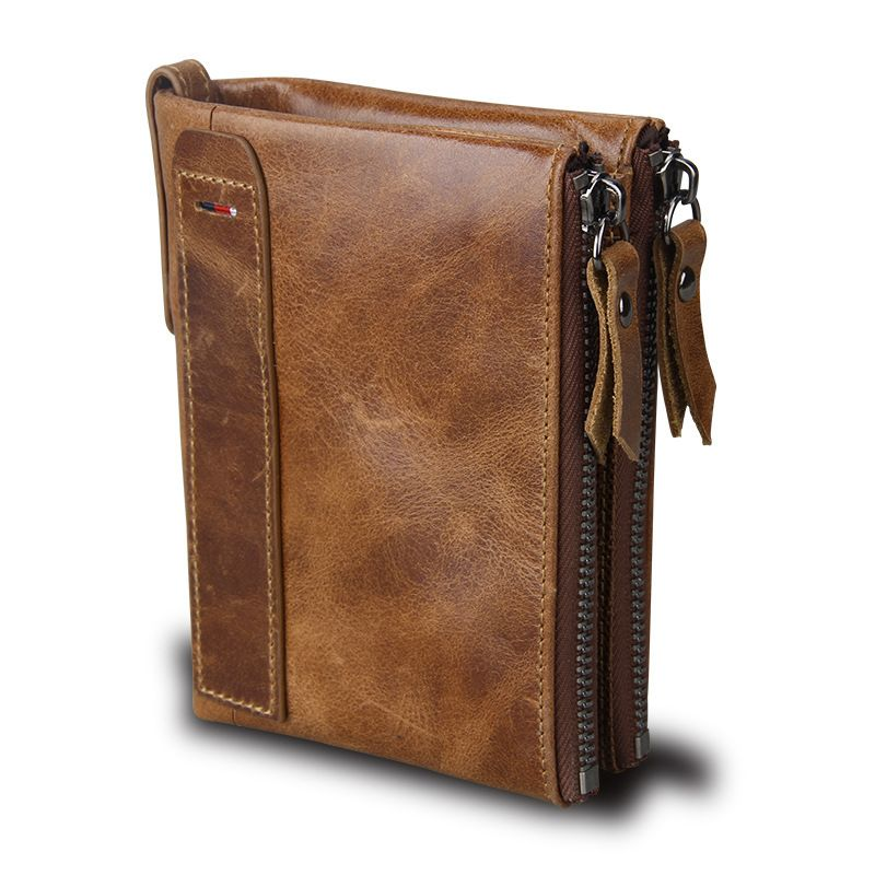 Hot!! Crazy Horse Genuine Leather Men Wallets Credit Business Card Holders Double <font><b>Zipper</b></font> Cowhide Leather Wallet Purse Carteira