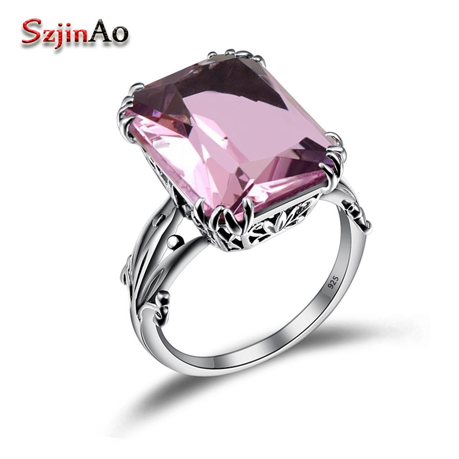 Szjinao Luxury Vintage Square Pink Stone Solid 925 Sterling Silver Wedding Rings For Women Fine Jewelry Valentine's Day Gift
