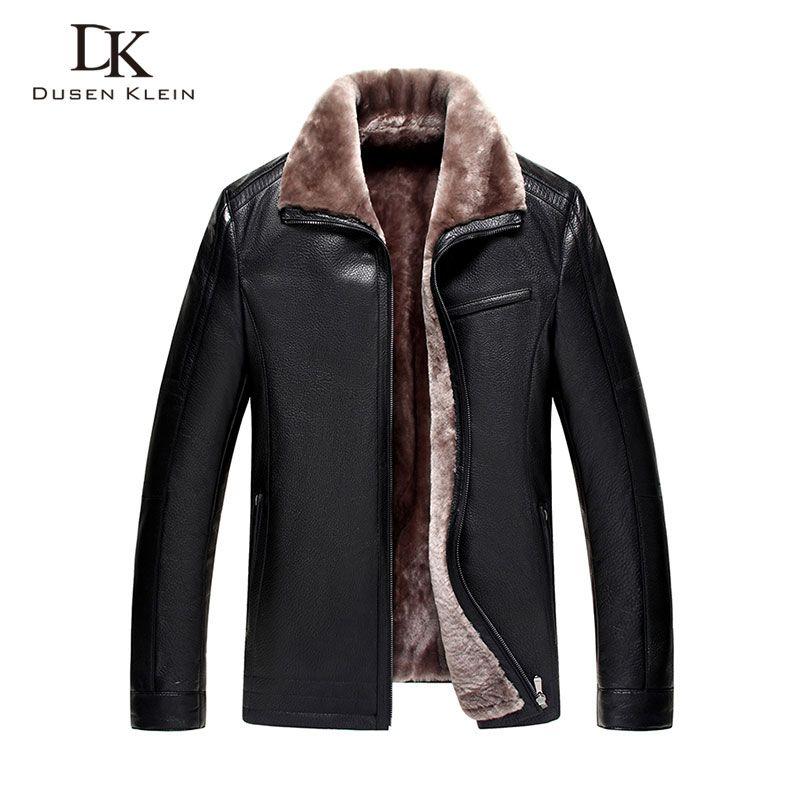 Brand winter leather jacket men Luxury wool insdie Genuine sheepskin coats Black/Brown Designer jacket 13Q1358