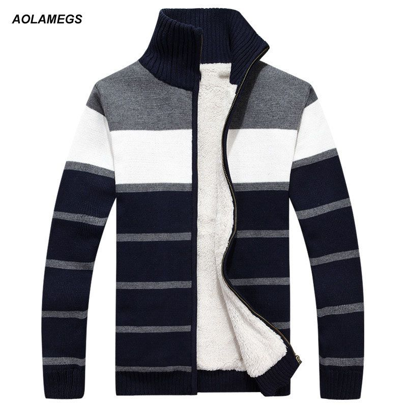 Aolamegs Men Sweater Striped Fashion Autumn Winter Cardigan Sweatercoat Men's Casual Warm Fleecing Sweater Knitted Sweter Hombre