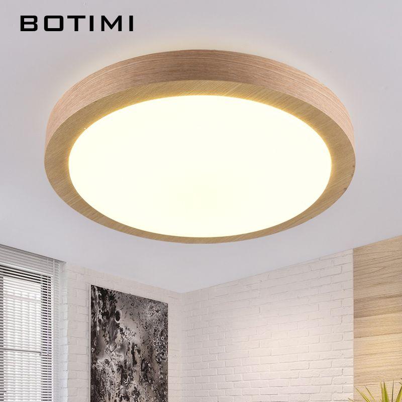 BOTIMI moderne LED bois plafonniers en forme ronde lampara de techo pour chambre balcon couloir cuisine luminaires