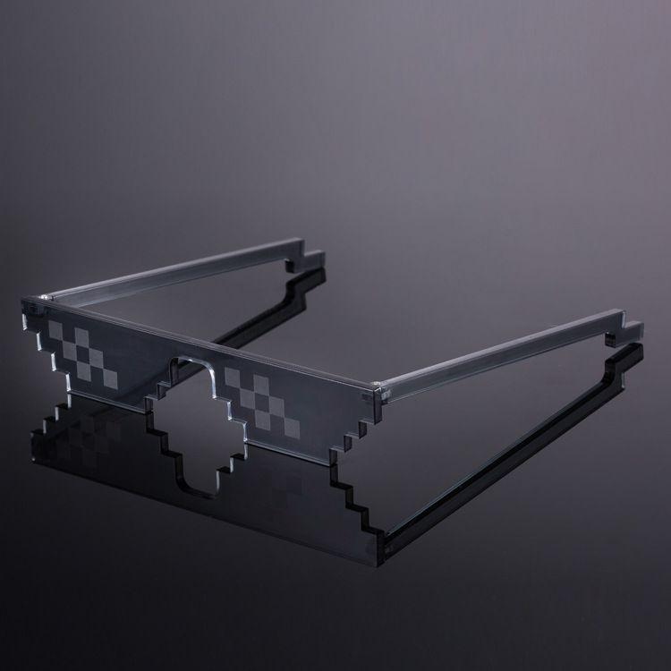 Traiter avec elle lunettes marque femmes hommes mosaïque Masculine 8 Bits Style Pixel skt lunettes Minecraft Polygonal voyou vie lunettes de soleil
