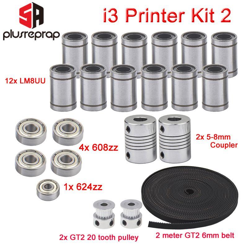 Imprimante 3D Reprap I3 Kit de mouvement GT2 poulie à courroie 608zz 624zz roulement à billes LM8UU roulement linéaire 5x8 arbre de coupleur