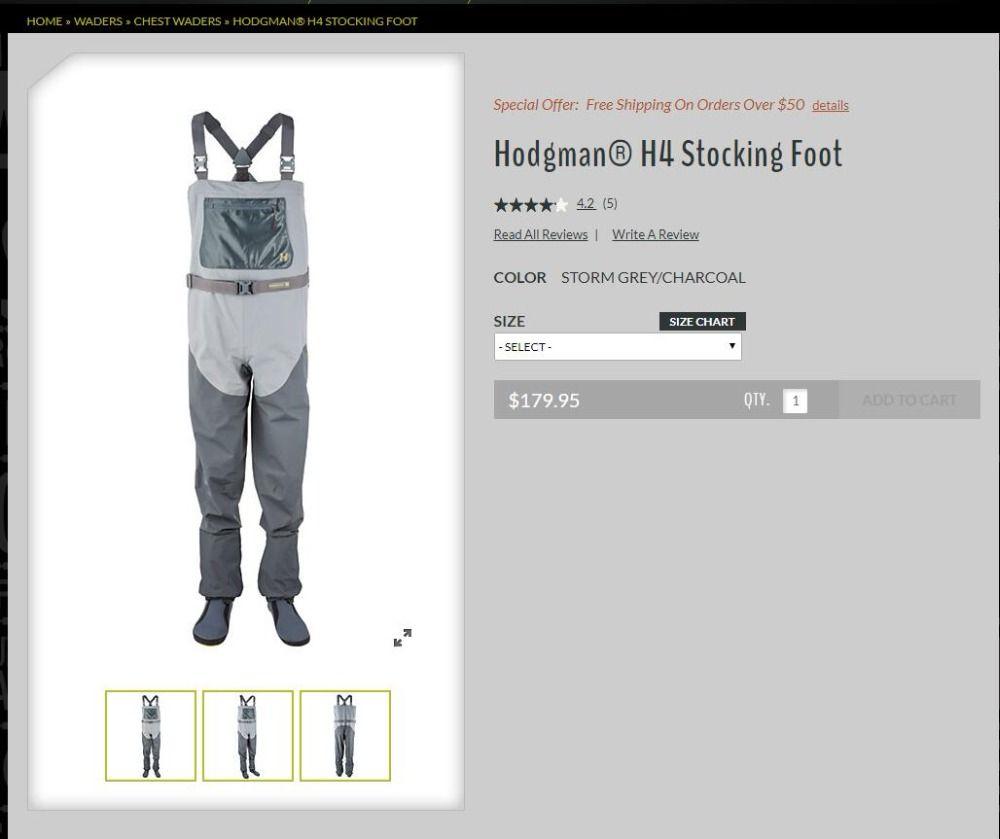 2018 Fishing Waders Hodgman H4 Stocking Foot