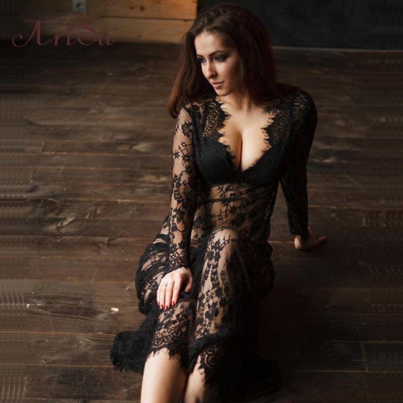 ArtSu femmes robe en dentelle noire longueur au sol blanc voir à travers la robe ajuster la taille Sexy nouveau évider Vestido Maxi grande taille DR5046