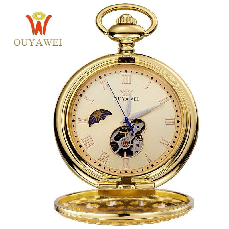 OUYAWEI Pocket Gold Mechanical Watch Men Vintage Pendant Watch Necklace Chain Antique Fob Watches Relogio bolso
