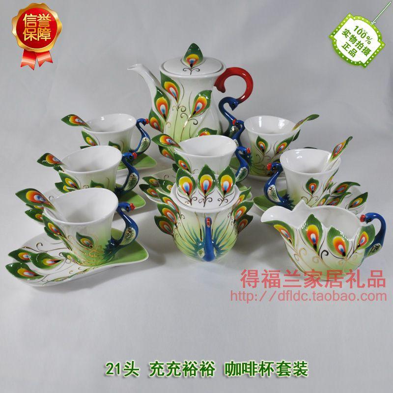 Chinesische Keramische Kaffeetasse 9 Stück Emaille Porzellan Pfau Kaffee Gesetzt Senioren Europäischen Stil Bone China tee-set