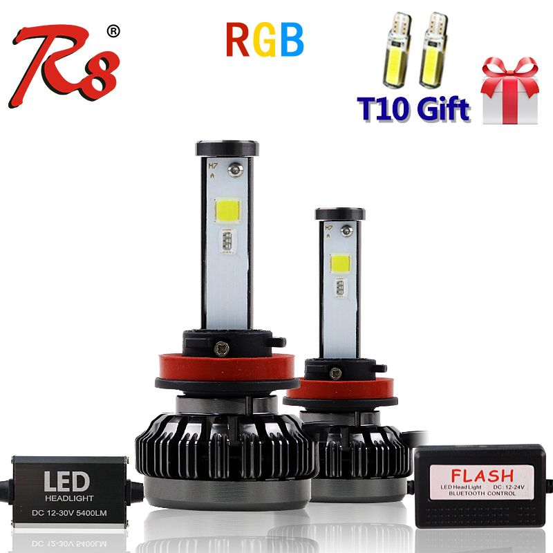 R8 New Car RGB LED Headlight H1 H3 H4 H7 H8/H11 9005 9006 880 9012 5202 LED Bulbs APP Bluetooth Control Multi-color 40W 6000LM
