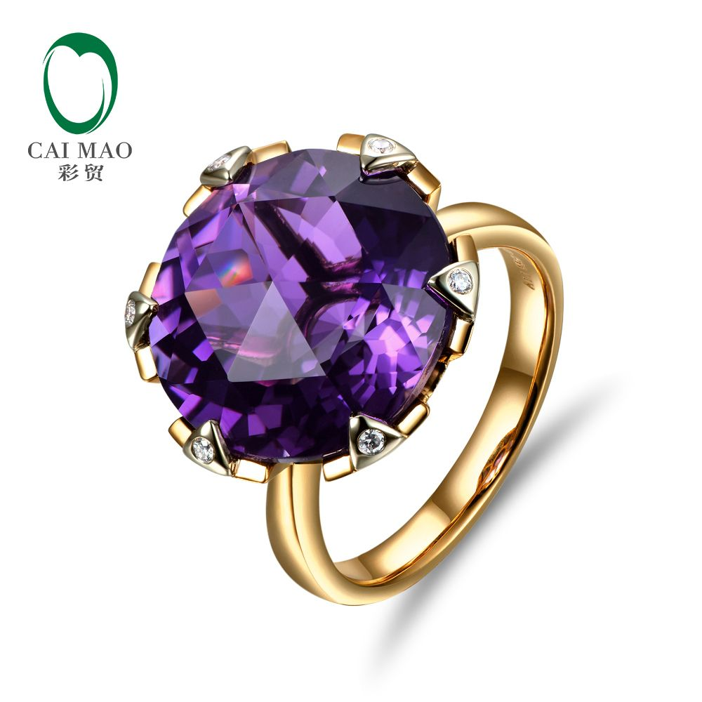 New Free shipping 11.68ct 15mm Round Purple Amethyst 14k Gold Natural Diamond Engagement Ring