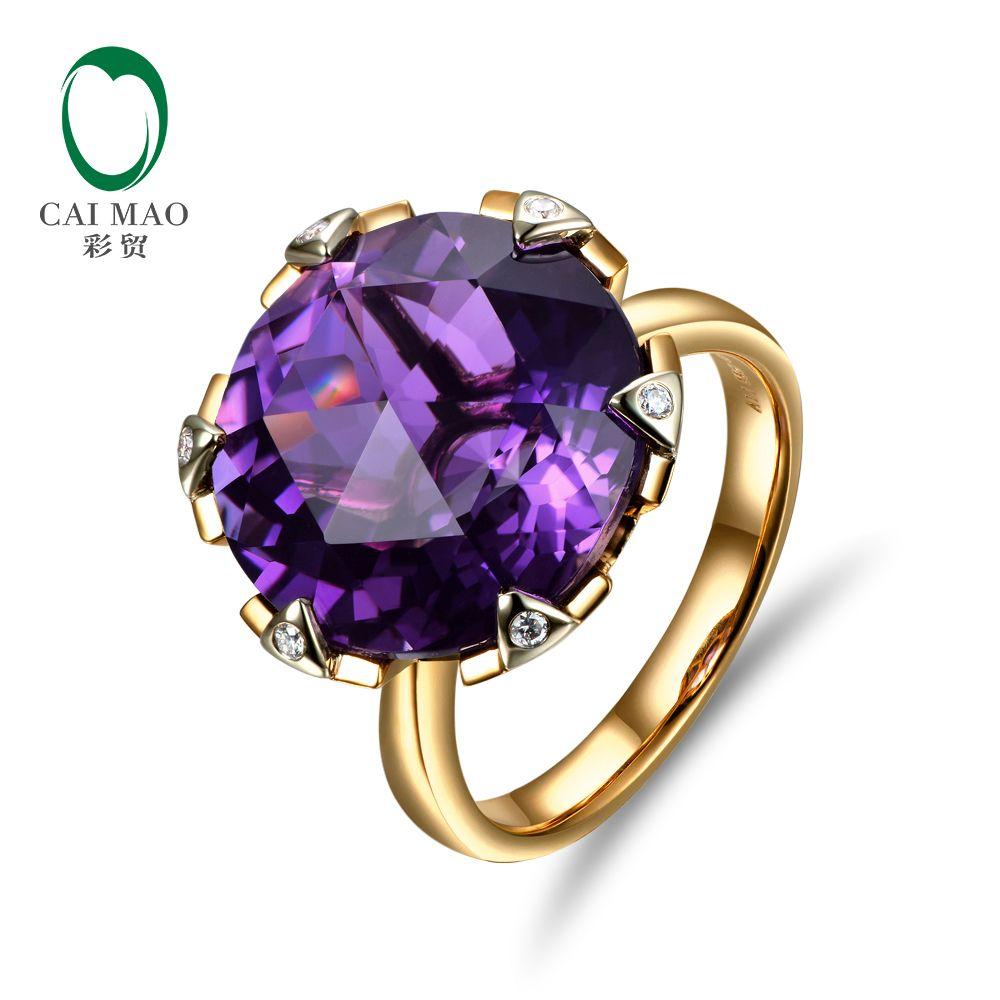 Nouveau Livraison gratuite 11.68ct 15mm Ronde Violet Améthyste 14 k Or Diamant Naturel Bague de Fiançailles