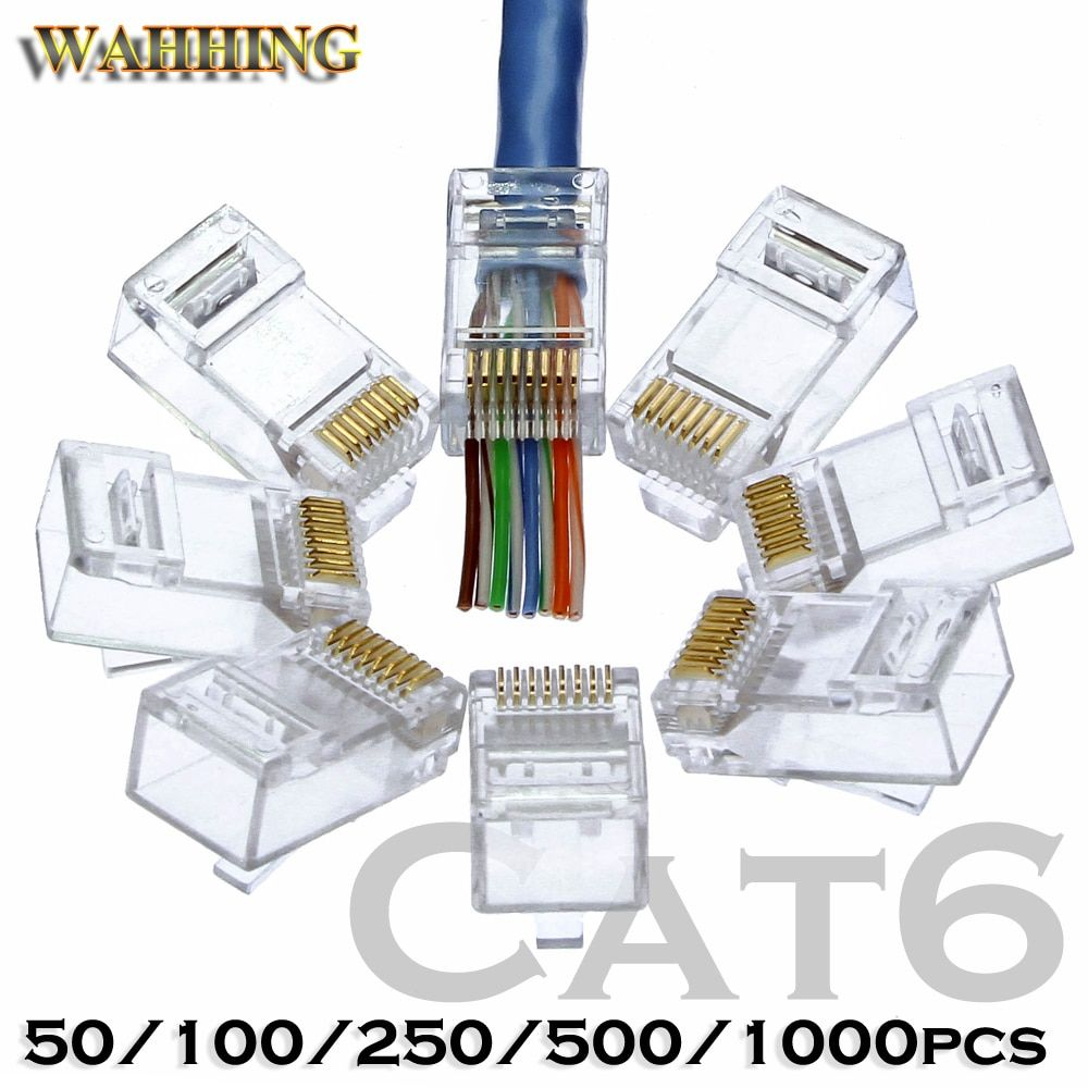 RJ45 connecteur cat5e Cat6 réseau connecteur 8P8C blindé modulaire rj45 bouchons utp terminaux ont trou HY1525
