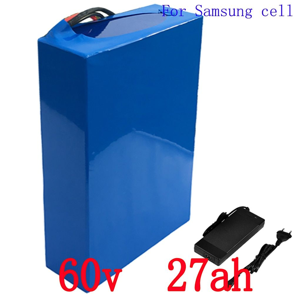 Free customs fee 60V Scooter Battery 60V 27AH Electric Bike Battery Use for Samsung 3000mah cell with 50A BMS and Charger
