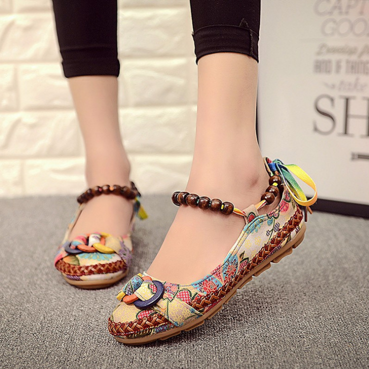 Plus size42 Casual Flat Shoes Women Flats Handmade Beaded Ankle <font><b>Straps</b></font> Loafers Zapatos Mujer Retro Ethnic Embroidered Shoes 25