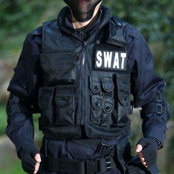 SWAT Airsoft Taktisches Jagdkampf Weste Polizei Mit Patch Schwarz