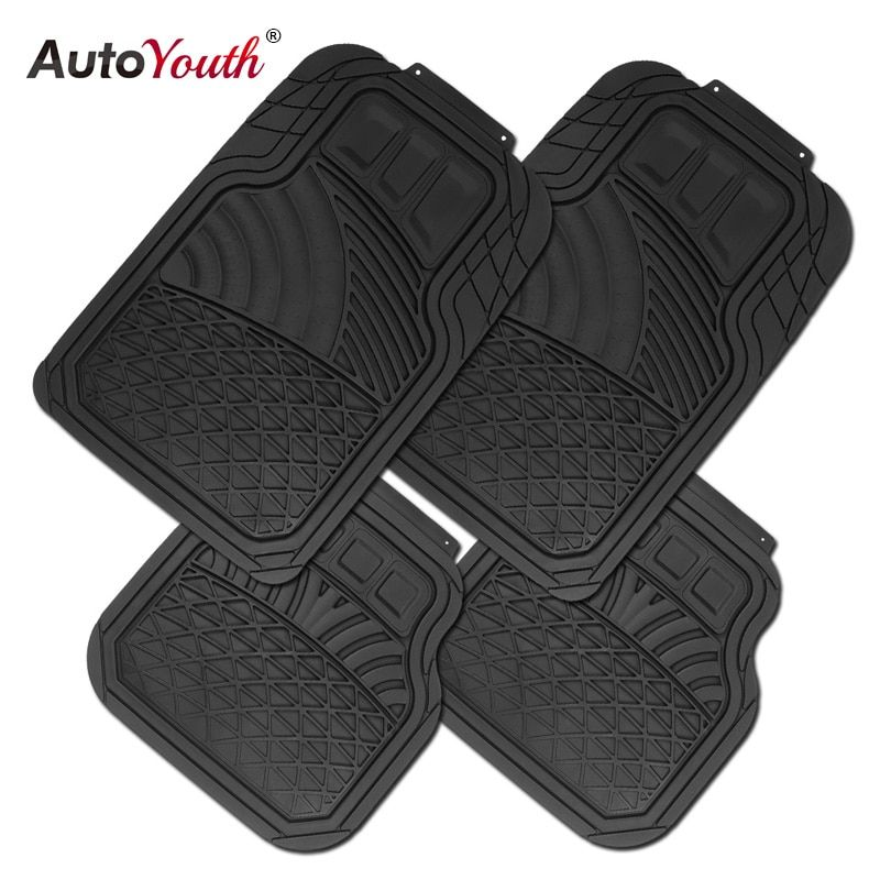 AUTOYOUTH Sea Shell Style Rubber Universal Floor Mats Fit Driver & Passenger Seat Ridged Heavy Duty Rubber Floor Mats Black