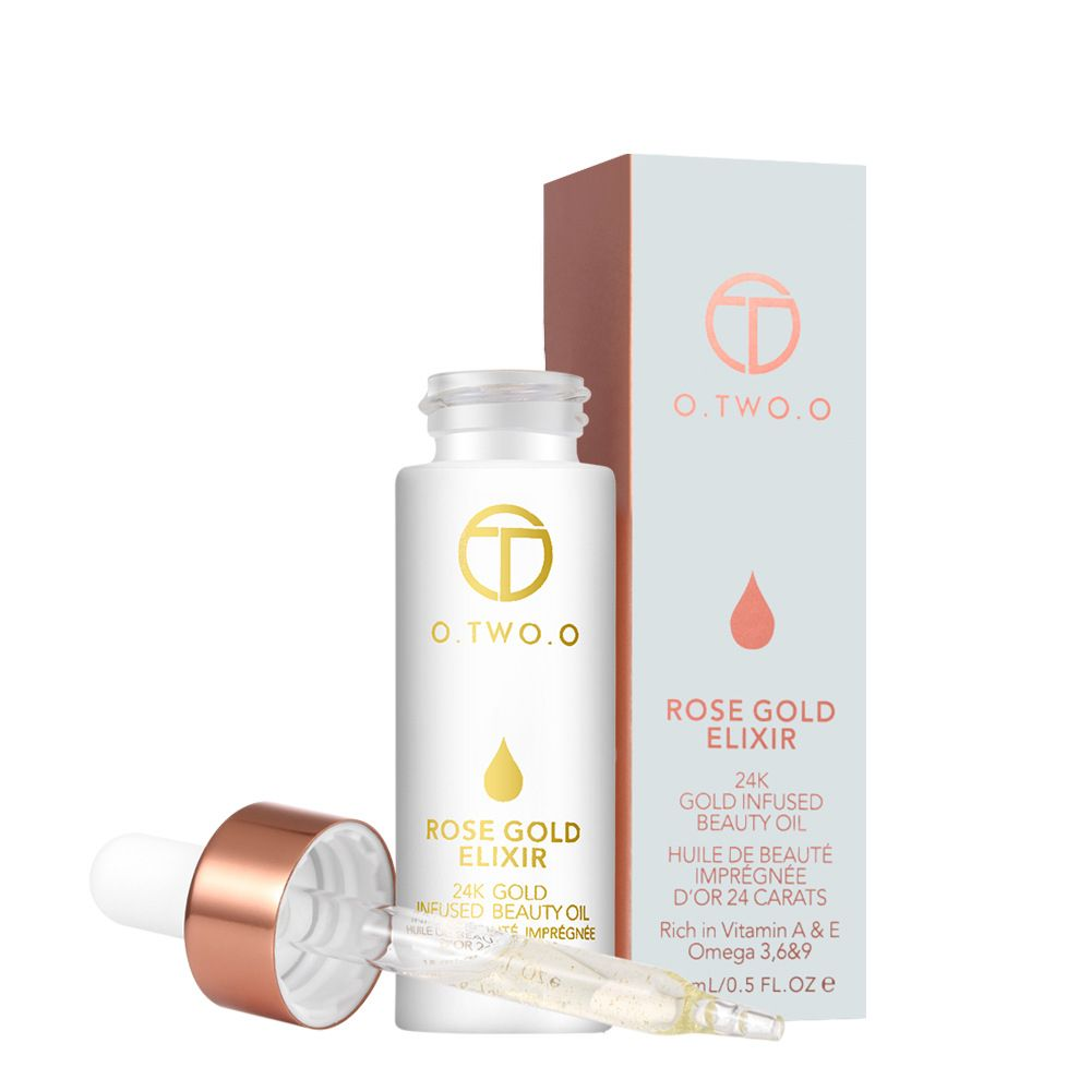 Drop Shipping 24k Rose Gold Elixir Skin Make Up Oil For Face Essential Oil Before Primer Foundation Moisturizing Oil Anti-aging