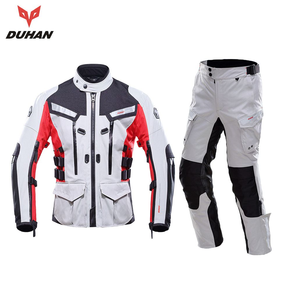 DUHAN Motorcycle Jacket Waterproof Motorcycle Racing Touring Jackets and Pants With Elbow Shoulder Back Protector CE Motorbike