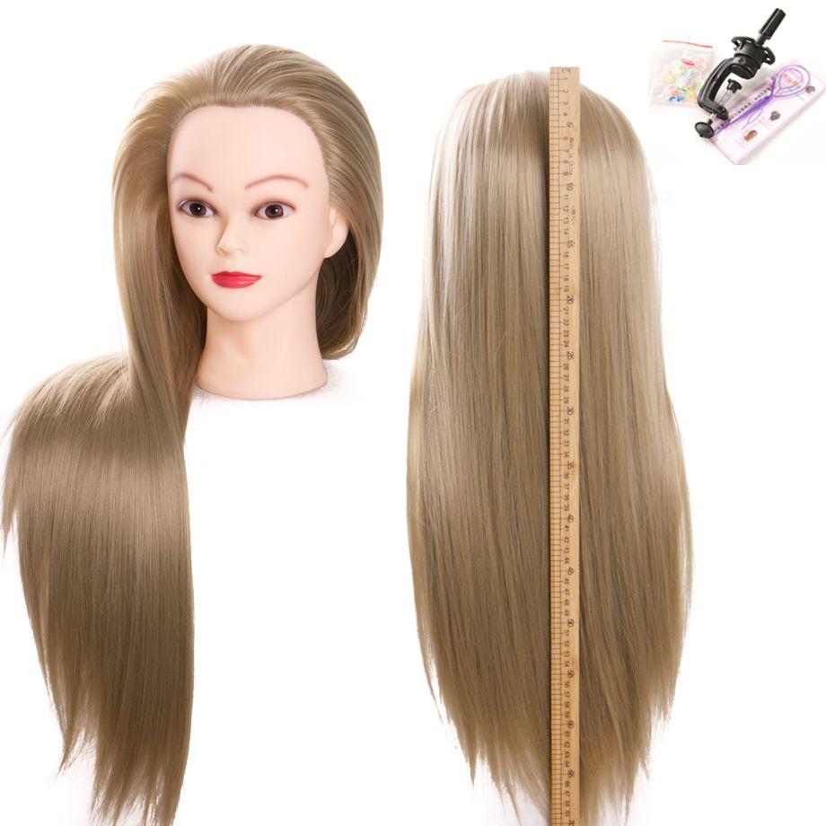Flaxen 70 cm 100% résistant à la chaleur en Fiber synthétique femelle coiffure mannequins tête de haute qualité livraison gratuite tête d'entraînement
