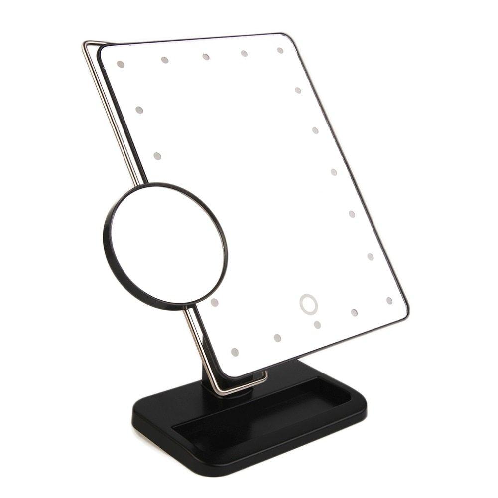 340 Degree Free Rotation MR-L208 20 LED Adjustable Brightness Women Makeup Tabletop Mirror + Stainless Steel Magnifier Tool Kit