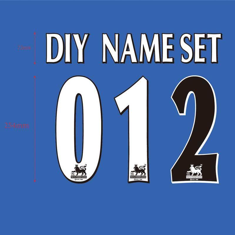 Angleterre Premier League 97-06 blanc noir Nom Nombre Ensemble ou BRICOLAGE ensemble de noms