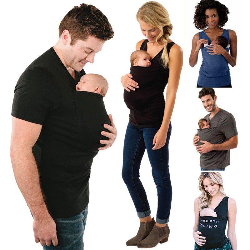 100% Modal Tissu Kangourou T-Shirts Confortable Élastique Mère Père Porte-Bébé T-Shirts Multi-Fonction Garde D'enfants Apaiser Débardeurs